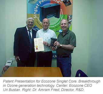Patent Presentation for Ecozone Singlet Core. Breakthrough in Ozone generation technology. Center: Ecozone CEO Uri Bustan. Right: Dr. Amram Fried, Director, R&D.