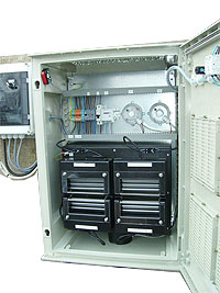 Inside of EC-4 industrial wall mounted air fed industrial generator showing four patented Singlets.